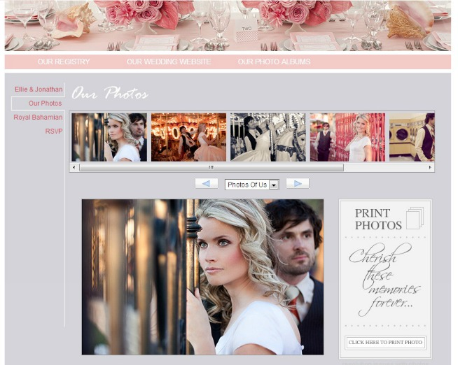 wedding website pink sample