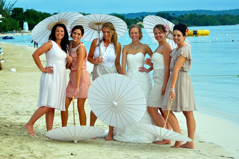 Blushing Bridesmaids on Beach