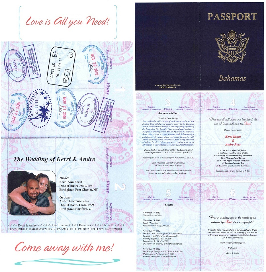 Passport Invite to Paradise Sandals Wedding Blog – Passport Wedding Invites