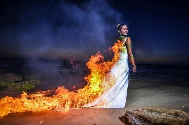 wedding dress on fire