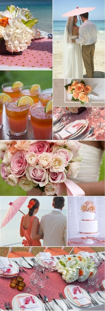 Sunset palette- gold, blushed coral, tangerine, fuschia