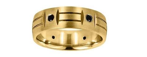 yellow gold and black diamond matte band