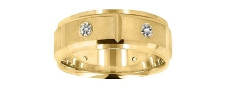 yellow gold and diamond matte band