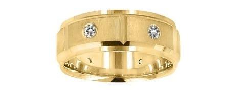 yellow gold and diamond matte band
