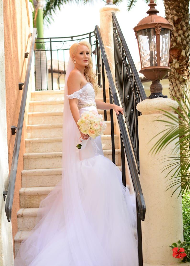 Bride on Staris Beaches Real Wedding L & J