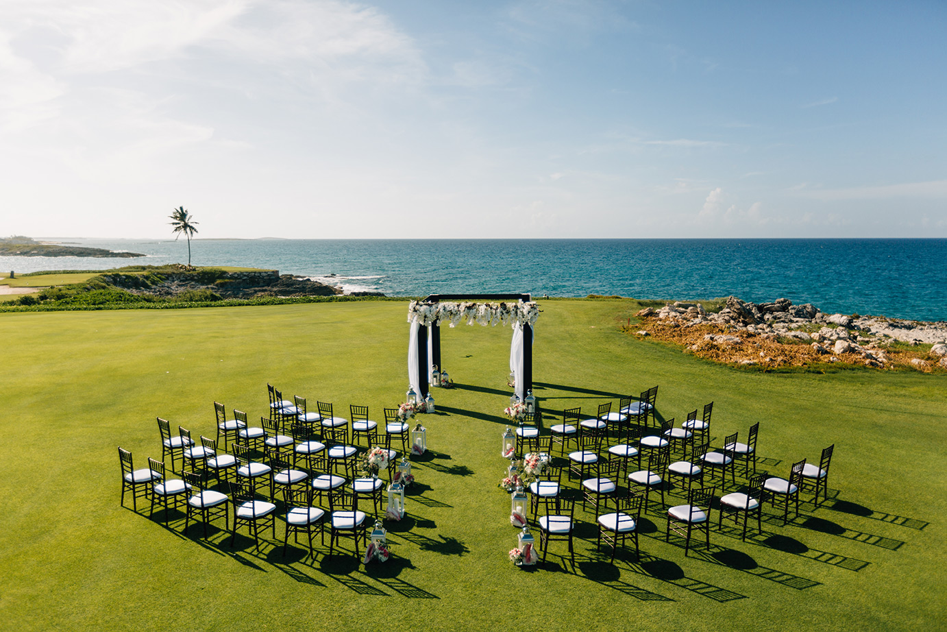 Wedding on the bay at Sandals Emerald Bay