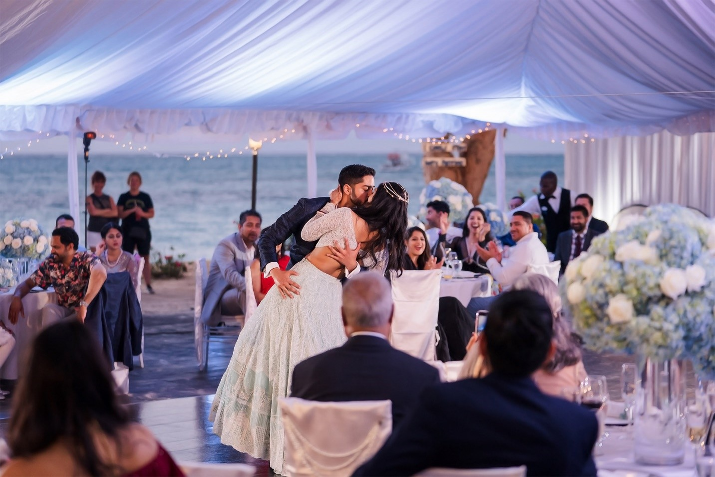 Bride and Groom romantic first dance- South Asian Wedding at Beaches Turks and Caicos