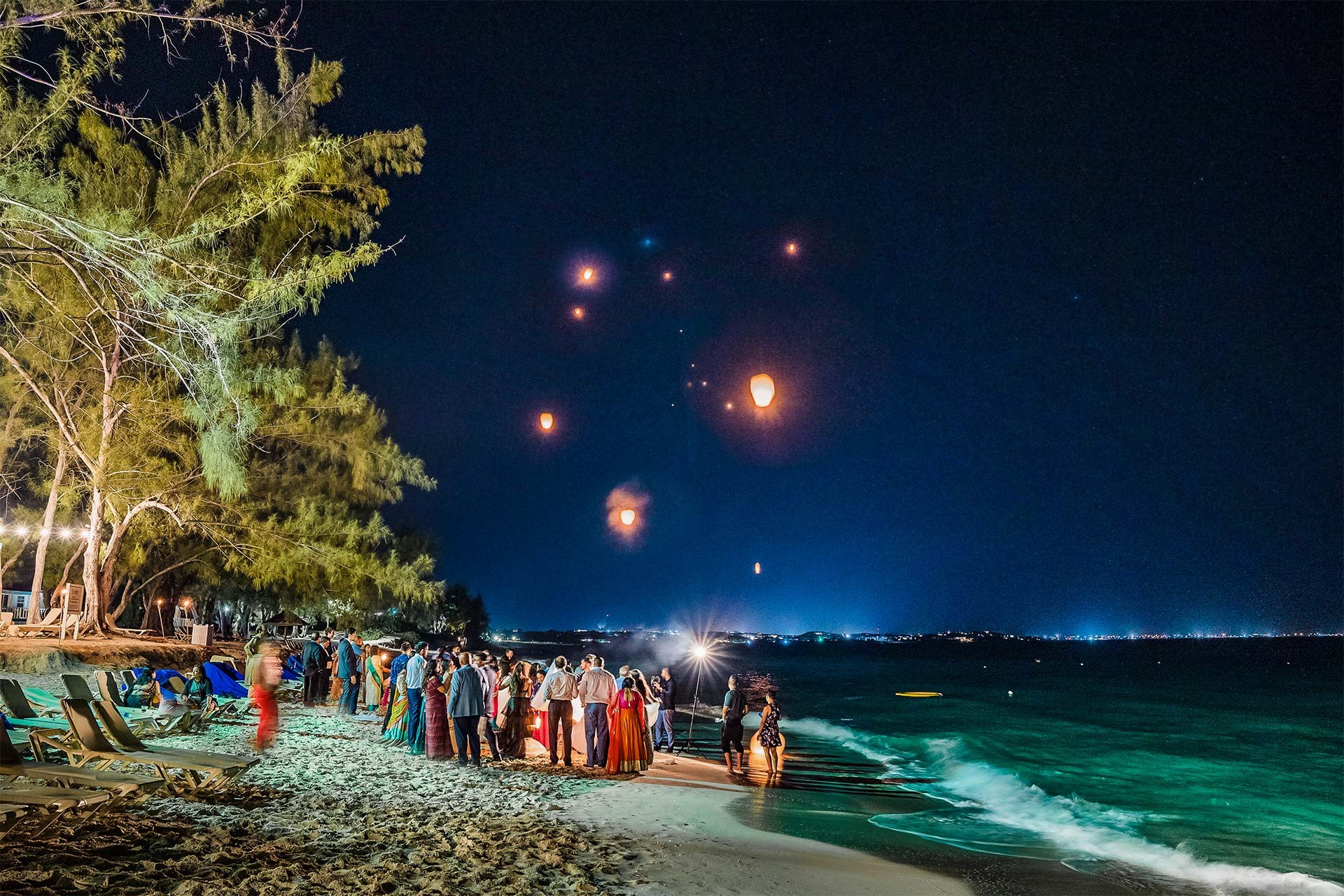 Lantern Release after bonfire for South Asian Wedding at beaches Turks & caicos