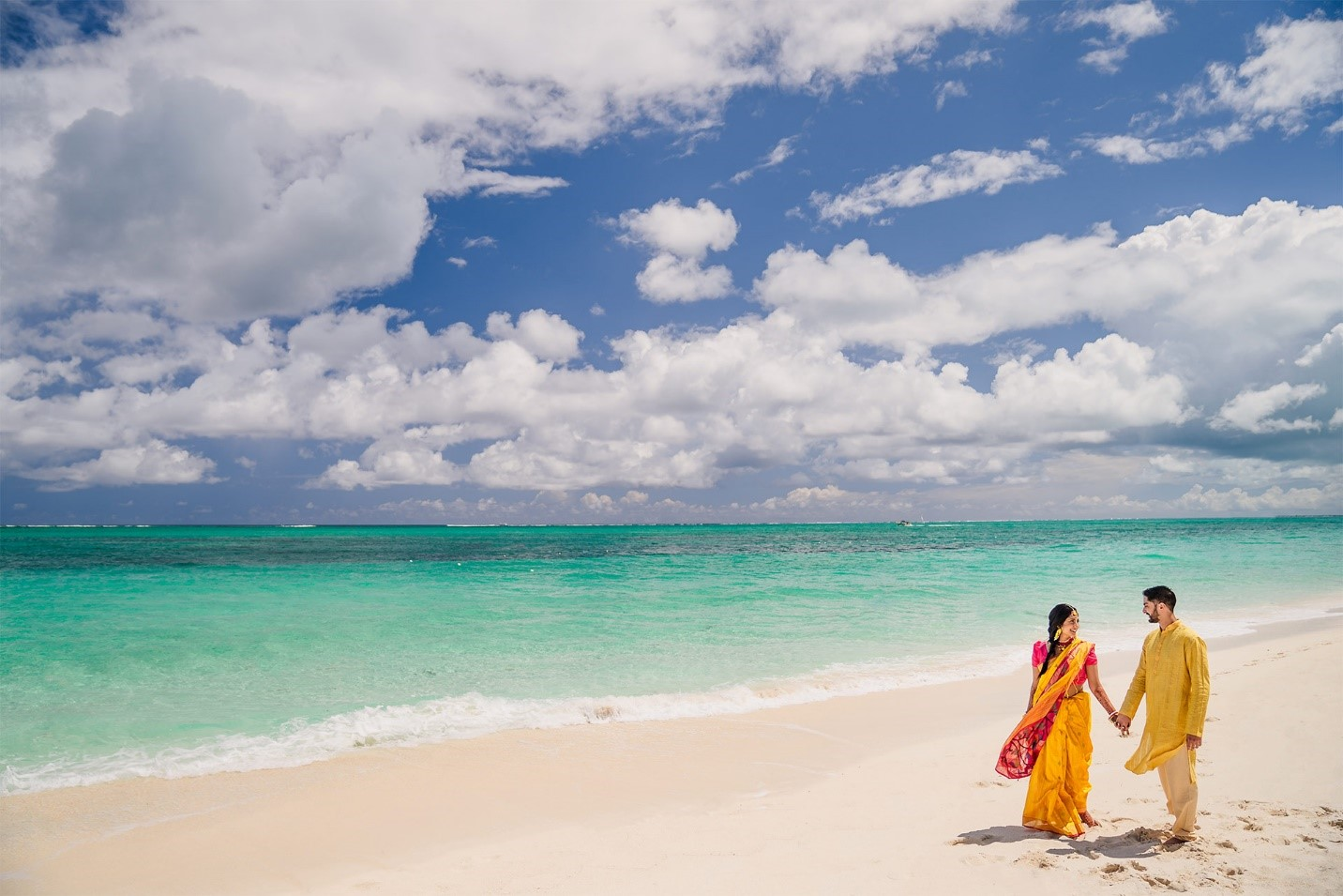 Day of Haldi Ceremony- Bride and Groom take a stroll along the beach