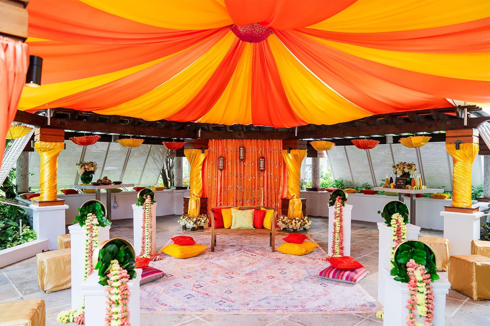 Event decor for Haldi Ceremony at Beaches Turks and Caicos