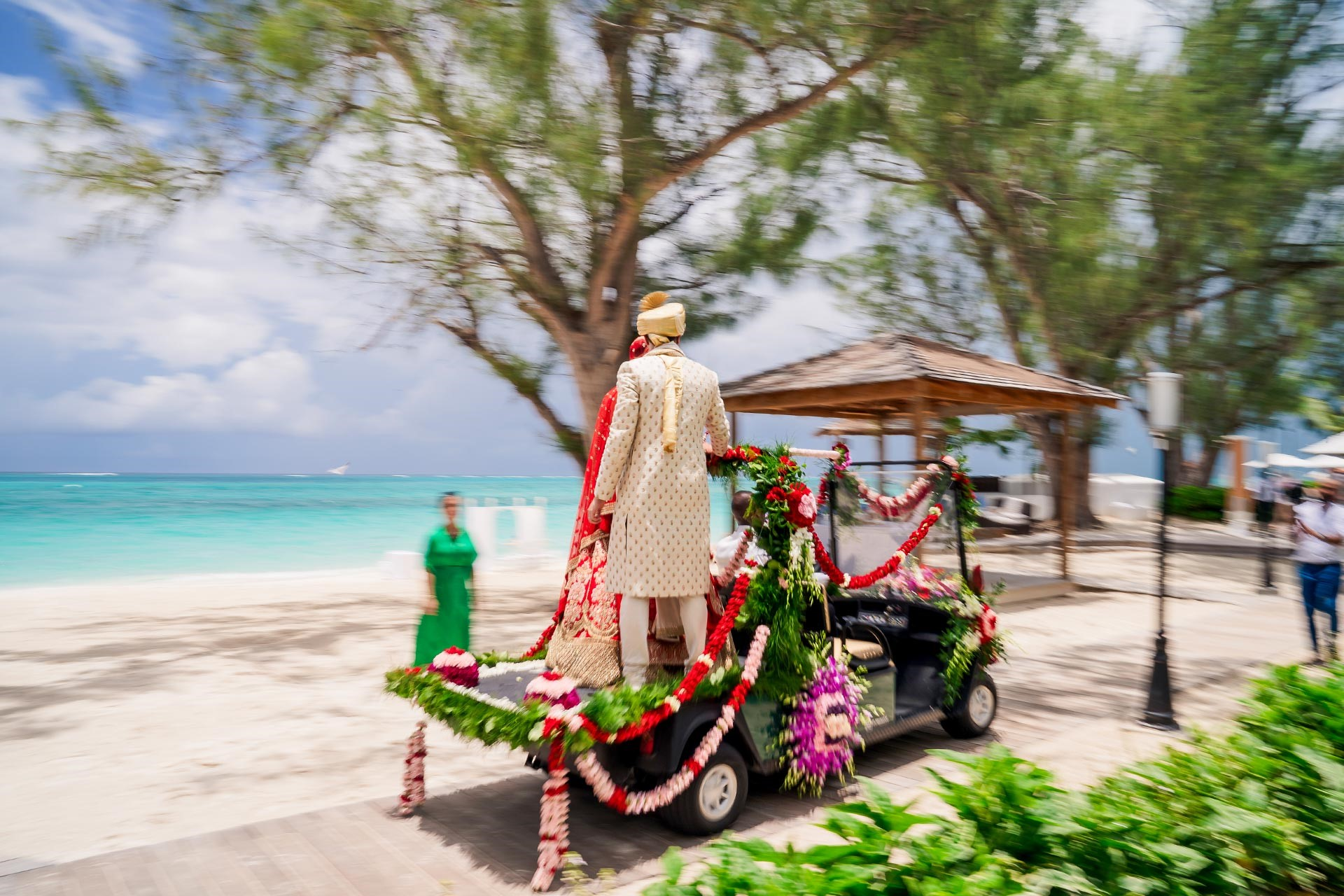 Baraat ceremony for the groom to ride into his wedding in style at Beaches Turks and Caicos