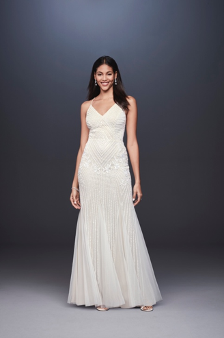 David's Bridal Beaded Sheath V-Neck Dress with Godets