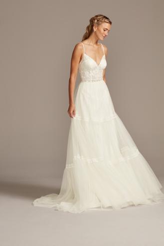David's Bridal Corset Bodice Tiered Chiffon A-Line Wedding Dress