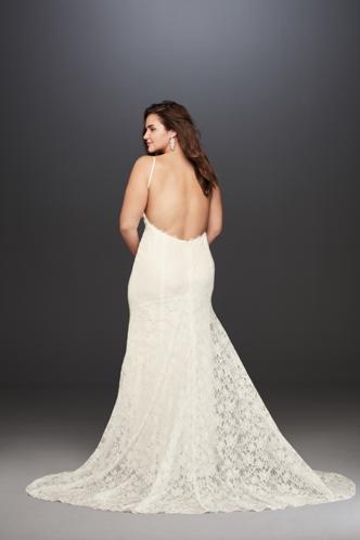David's Bridal Low Back Soft Lace Wedding Dress