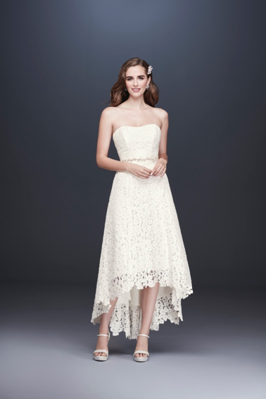 David's Bridal High Low Tea-Length Corded Lace Wedding Dress