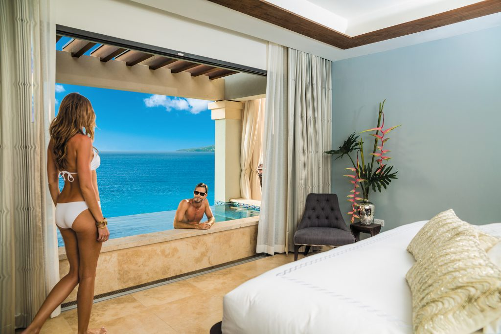 Sandals Grenada all inclusive luxurious honeymoon suite with sky pool