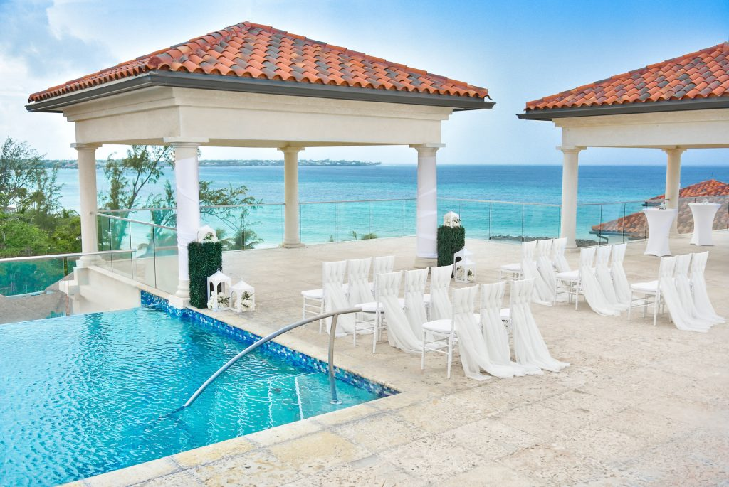 Rooftop Sky Terrace wedding ceremony overlooks the Carribean Sea