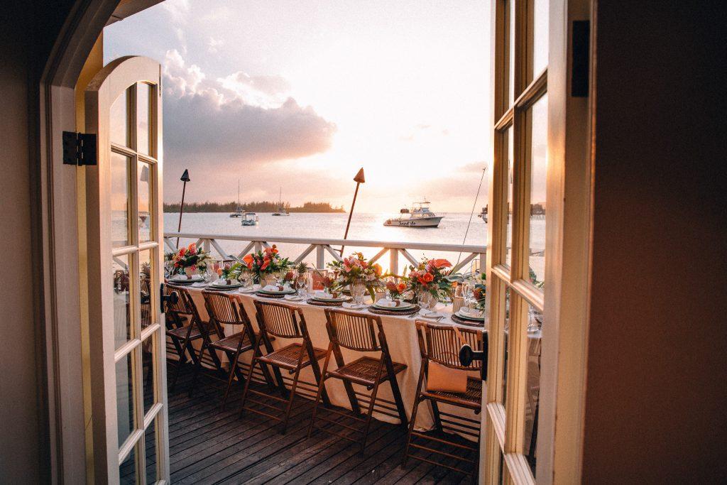 Dreamy wedding reception dinner setting at golden hour