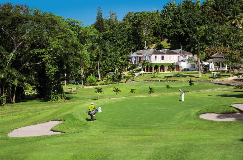 A view of a pristine fairway at Sandals Golf & Country Club