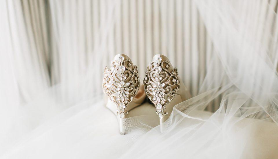 Stunning bridal shoes with a rhinestone embellishment design